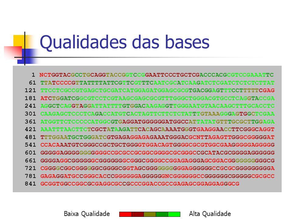 Clusterização Cluster 1 – Tamanho 5 C GAGCACTGCTTTAAGGGTCGTTAATTGACGACTCTTGATATTTACTAAGTTTGAGTTATGGACGA 2 GAGCACTGCTTTAAGGGTCGTTAATTGACGACTCTTGATATTTACTAAGTTT 6 CTGCTTTAAGGGTCGTTAATTGACGACTCTTGATATTTACTAAGTTTGAGTTATG 1 CTGCTTTAAGGGTCGTTAATTGACGACTCTTGATATTTACTTAGTTTGAGTT 8 TTAAGGGTCGTTAATTGACGACTCTTGATATTTACTAAGTTTGAGTTATGGA 5 CGTTAATTGACGACTC*TGATATTTACTAAGTTTGAGTTATGGACGA Cluster 2 – Tamanho 2 C TTGTGCAAGTAGCTTTGGTAATTCTTCTCAGTACAACCGACCCACCGTTTCAAATCTTTGTA 4 TTGTGCAAGTAGCTTTGGTAATTCTTCTCAGTACAACCGACCCACCGTTTCAAATC 7 CAAGTAGCTTTGGTAA*TCTTCTCAGTACAACCGACCCACCGTTTCAA*TCTTTGTA Singleton 3 GAAAAGGATCTTTCTGATTCTCGAAGAATGAGGGGCAAGGGGATTGATCGA