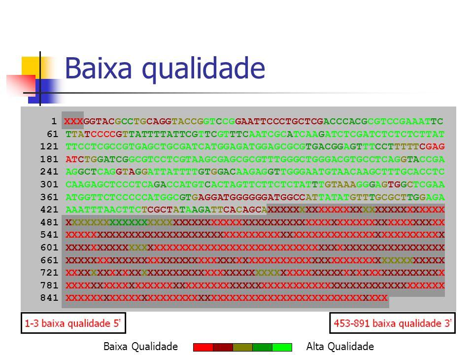 Clusterização Existência de diversos programas de clusterização: TGICL Phrap TIGR Assembler CAP3 Validação dos resultados obtidos nos processos de trimagem e verificação de contaminação