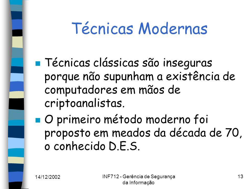 14/12/2002 INF712 - Gerência de Segurança da Informação 13 Técnicas Modernas n Técnicas clássicas são inseguras porque não supunham a existência de co