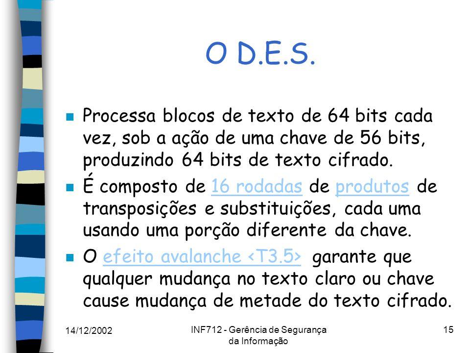 14/12/2002 INF712 - Gerência de Segurança da Informação 15 O D.E.S. n Processa blocos de texto de 64 bits cada vez, sob a ação de uma chave de 56 bits