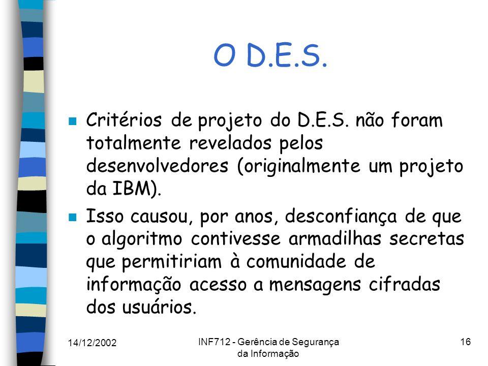 14/12/2002 INF712 - Gerência de Segurança da Informação 16 O D.E.S. n Critérios de projeto do D.E.S. não foram totalmente revelados pelos desenvolvedo