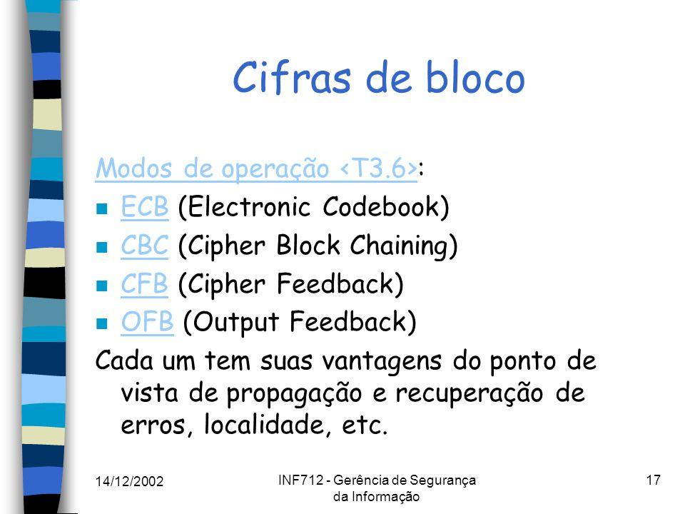 14/12/2002 INF712 - Gerência de Segurança da Informação 17 Cifras de bloco Modos de operação Modos de operação : n ECB (Electronic Codebook) ECB n CBC