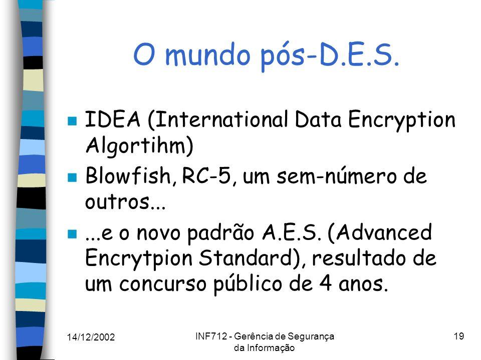 14/12/2002 INF712 - Gerência de Segurança da Informação 19 O mundo pós-D.E.S. n IDEA (International Data Encryption Algortihm) n Blowfish, RC-5, um se