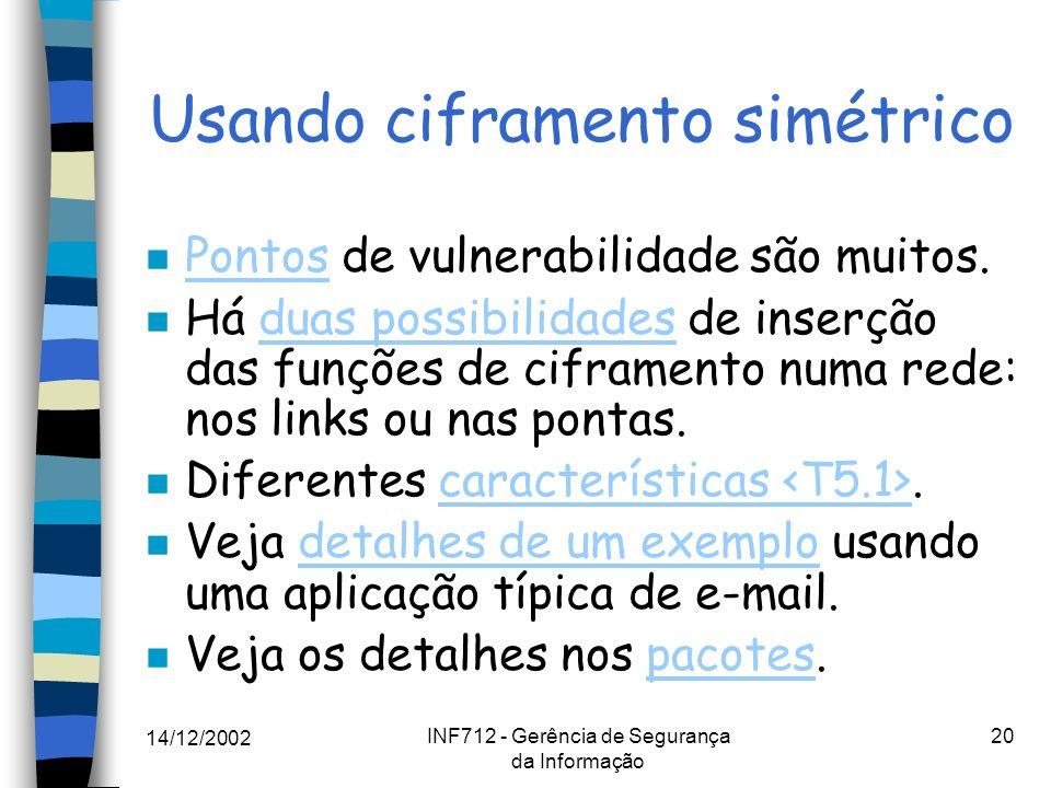 14/12/2002 INF712 - Gerência de Segurança da Informação 20 Usando ciframento simétrico n Pontos de vulnerabilidade são muitos. Pontos n Há duas possib