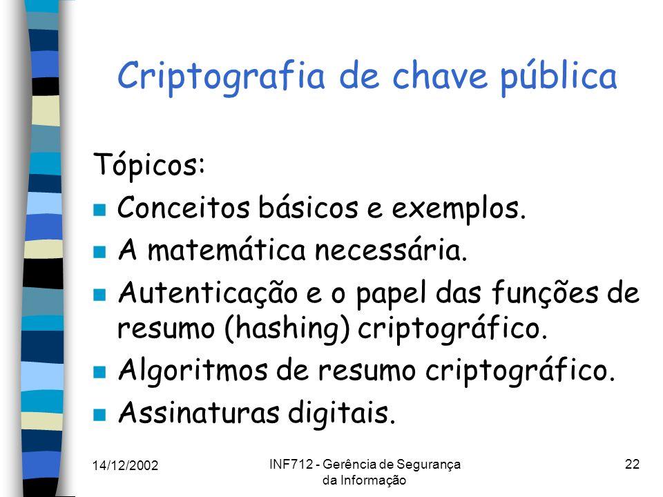 14/12/2002 INF712 - Gerência de Segurança da Informação 22 Criptografia de chave pública Tópicos: n Conceitos básicos e exemplos. n A matemática neces
