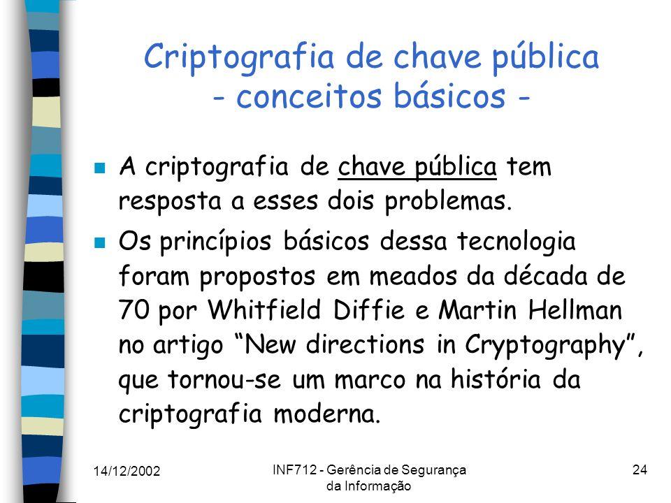 14/12/2002 INF712 - Gerência de Segurança da Informação 24 Criptografia de chave pública - conceitos básicos - n A criptografia de chave pública tem r