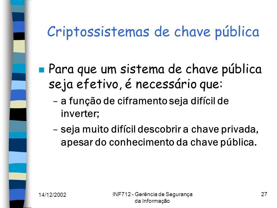14/12/2002 INF712 - Gerência de Segurança da Informação 27 Criptossistemas de chave pública n Para que um sistema de chave pública seja efetivo, é nec