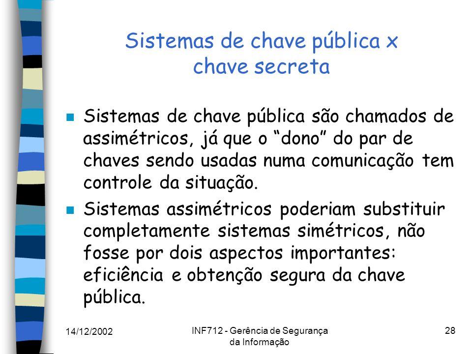 14/12/2002 INF712 - Gerência de Segurança da Informação 28 Sistemas de chave pública x chave secreta n Sistemas de chave pública são chamados de assim