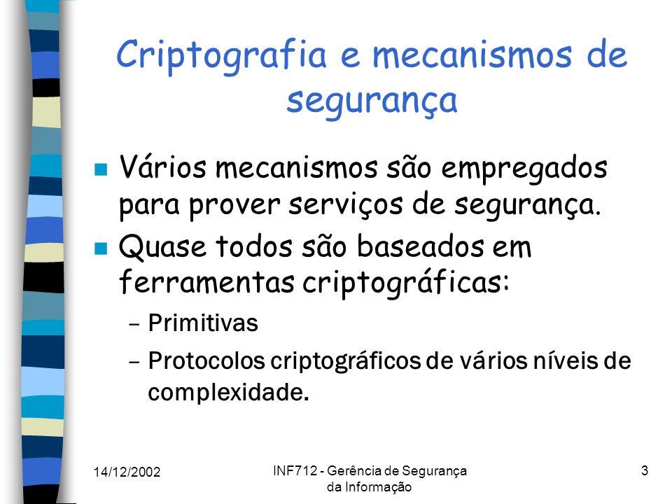 14/12/2002 INF712 - Gerência de Segurança da Informação 4 Qual criptografia.