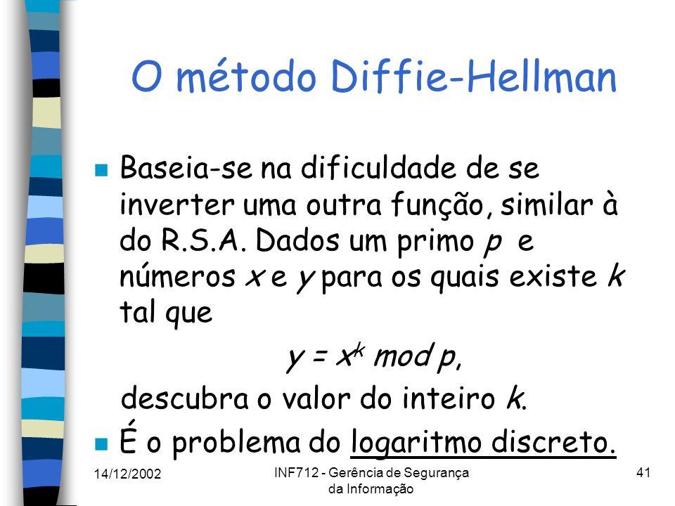 14/12/2002 INF712 - Gerência de Segurança da Informação 41 O método Diffie-Hellman n Baseia-se na dificuldade de se inverter uma outra função, similar