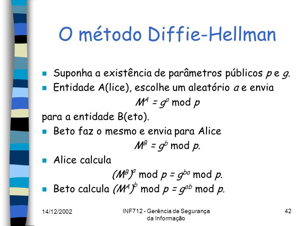 14/12/2002 INF712 - Gerência de Segurança da Informação 42 O método Diffie-Hellman n Suponha a existência de parâmetros públicos p e g. n Entidade A(l