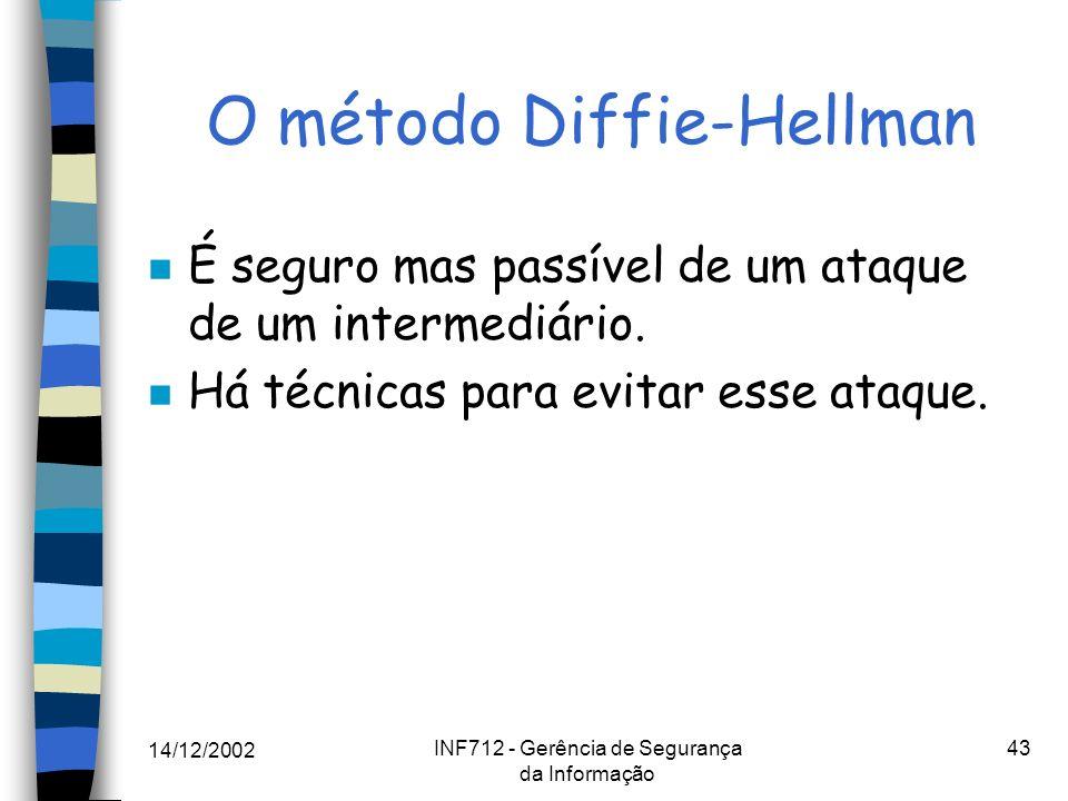 14/12/2002 INF712 - Gerência de Segurança da Informação 43 O método Diffie-Hellman n É seguro mas passível de um ataque de um intermediário. n Há técn