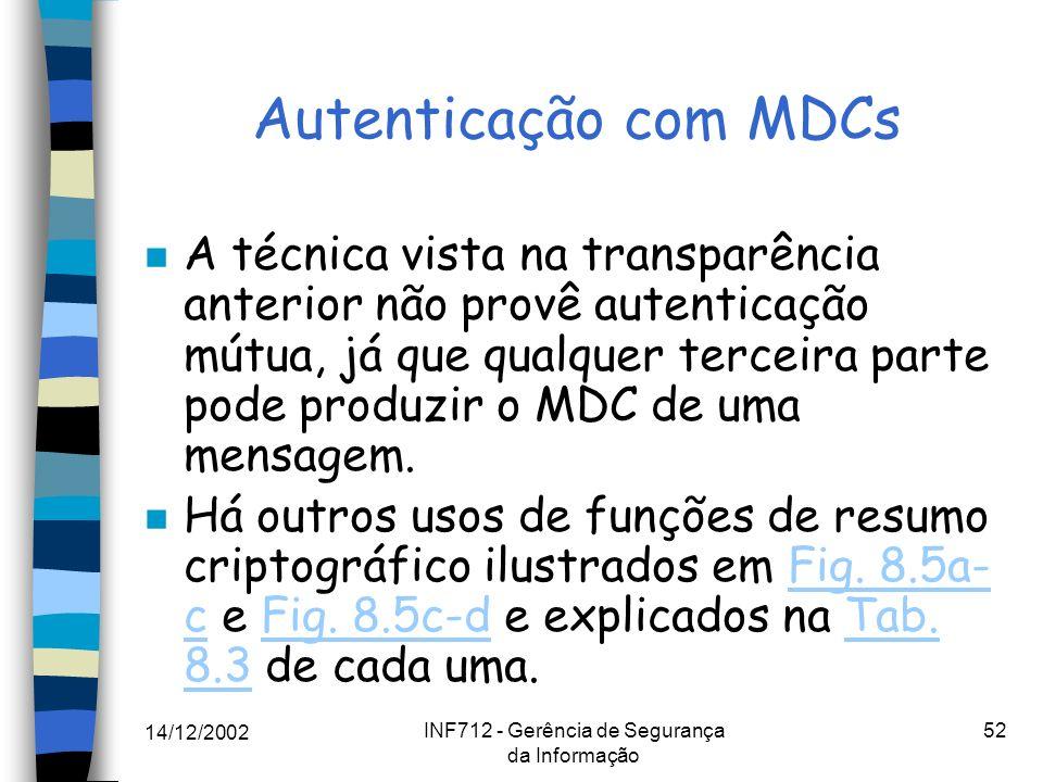 14/12/2002 INF712 - Gerência de Segurança da Informação 52 Autenticação com MDCs n A técnica vista na transparência anterior não provê autenticação mú