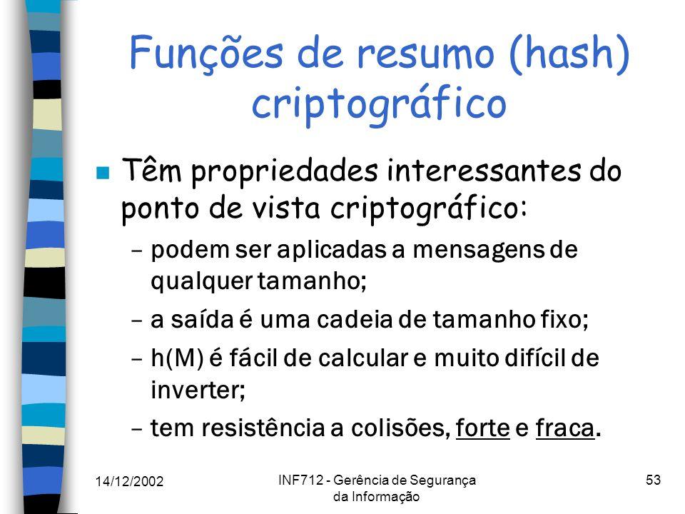 14/12/2002 INF712 - Gerência de Segurança da Informação 53 Funções de resumo (hash) criptográfico n Têm propriedades interessantes do ponto de vista c