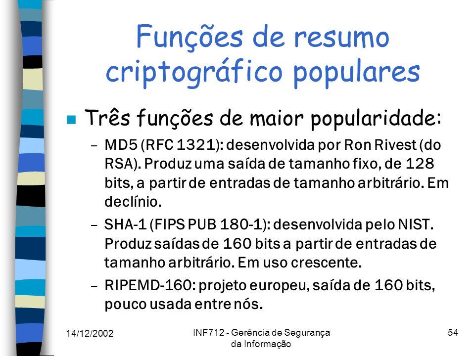 14/12/2002 INF712 - Gerência de Segurança da Informação 54 Funções de resumo criptográfico populares n Três funções de maior popularidade: –MD5 (RFC 1