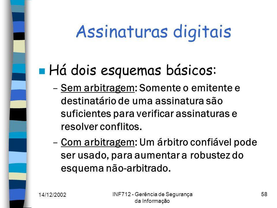 14/12/2002 INF712 - Gerência de Segurança da Informação 58 Assinaturas digitais n Há dois esquemas básicos: –Sem arbitragem: Somente o emitente e dest