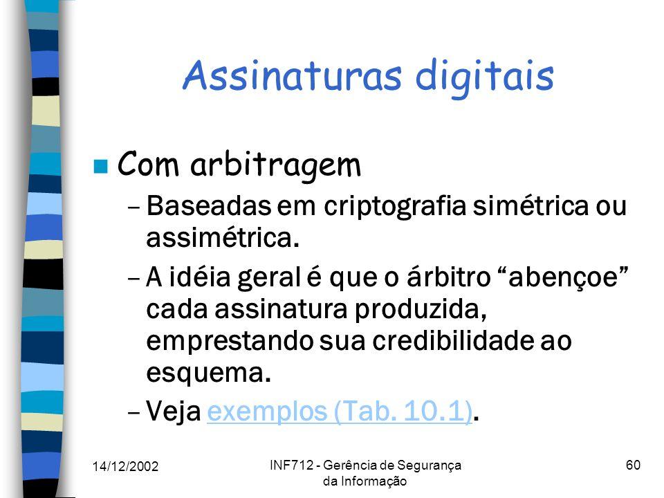 14/12/2002 INF712 - Gerência de Segurança da Informação 60 Assinaturas digitais n Com arbitragem –Baseadas em criptografia simétrica ou assimétrica. –