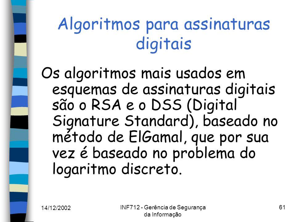 14/12/2002 INF712 - Gerência de Segurança da Informação 61 Algoritmos para assinaturas digitais Os algoritmos mais usados em esquemas de assinaturas d