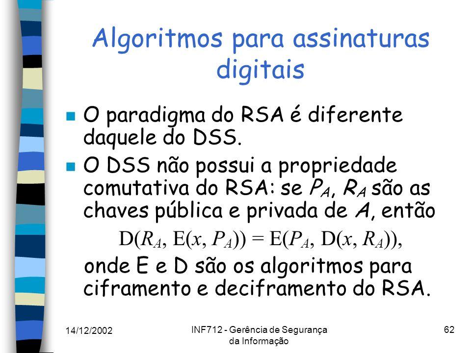 14/12/2002 INF712 - Gerência de Segurança da Informação 62 Algoritmos para assinaturas digitais n O paradigma do RSA é diferente daquele do DSS. n O D