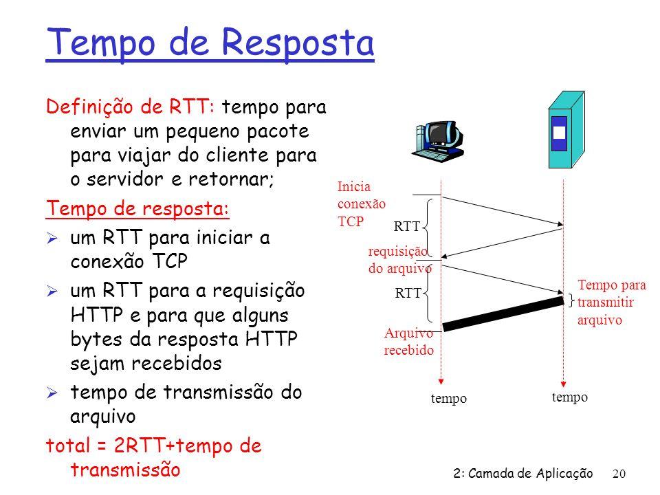 2: Camada de Aplicação20 Tempo de Resposta Definição de RTT: tempo para enviar um pequeno pacote para viajar do cliente para o servidor e retornar; Tempo de resposta: Ø um RTT para iniciar a conexão TCP Ø um RTT para a requisição HTTP e para que alguns bytes da resposta HTTP sejam recebidos Ø tempo de transmissão do arquivo total = 2RTT+tempo de transmissão Tempo para transmitir arquivo Inicia conexão TCP RTT requisição do arquivo RTT Arquivo recebido tempo