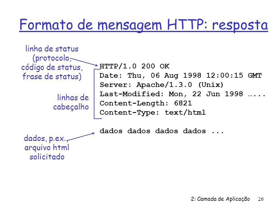 2: Camada de Aplicação26 Formato de mensagem HTTP: resposta HTTP/1.0 200 OK Date: Thu, 06 Aug 1998 12:00:15 GMT Server: Apache/1.3.0 (Unix) Last-Modif