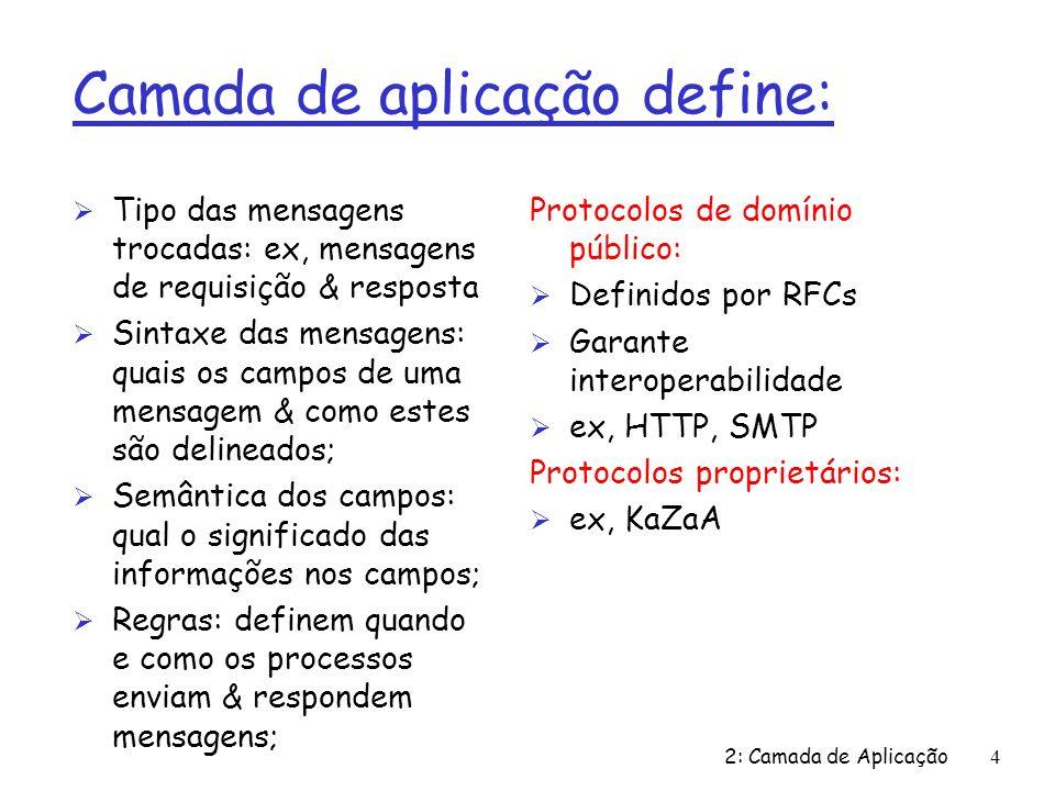 2: Camada de Aplicação4 Camada de aplicação define: Ø Tipo das mensagens trocadas: ex, mensagens de requisição & resposta Ø Sintaxe das mensagens: quais os campos de uma mensagem & como estes são delineados; Ø Semântica dos campos: qual o significado das informações nos campos; Ø Regras: definem quando e como os processos enviam & respondem mensagens; Protocolos de domínio público: Ø Definidos por RFCs Ø Garante interoperabilidade Ø ex, HTTP, SMTP Protocolos proprietários: Ø ex, KaZaA