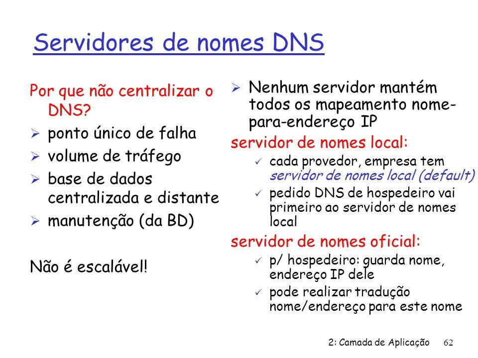 2: Camada de Aplicação62 Servidores de nomes DNS Ø Nenhum servidor mantém todos os mapeamento nome- para-endereço IP servidor de nomes local: ü cada provedor, empresa tem servidor de nomes local (default) ü pedido DNS de hospedeiro vai primeiro ao servidor de nomes local servidor de nomes oficial: ü p/ hospedeiro: guarda nome, endereço IP dele ü pode realizar tradução nome/endereço para este nome Por que não centralizar o DNS.