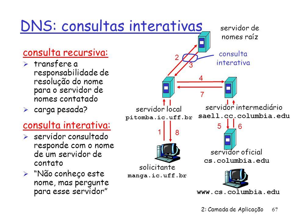 2: Camada de Aplicação67 DNS: consultas interativas consulta recursiva: Ø transfere a responsabilidade de resolução do nome para o servidor de nomes contatado Ø carga pesada.