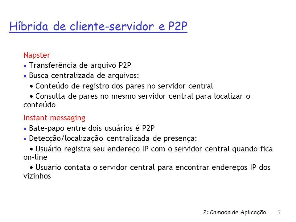 2: Camada de Aplicação7 Napster Transferência de arquivo P2P Busca centralizada de arquivos: Conteúdo de registro dos pares no servidor central Consulta de pares no mesmo servidor central para localizar o conteúdo Instant messaging Bate-papo entre dois usuários é P2P Detecção/localização centralizada de presença: Usuário registra seu endereço IP com o servidor central quando fica on-line Usuário contata o servidor central para encontrar endereços IP dos vizinhos Híbrida de cliente-servidor e P2P