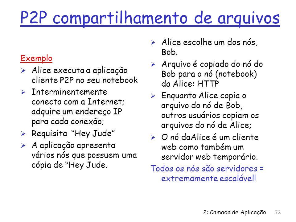 2: Camada de Aplicação72 P2P compartilhamento de arquivos Exemplo Ø Alice executa a aplicação cliente P2P no seu notebook Ø Interminentemente conecta com a Internet; adquire um endereço IP para cada conexão; Ø Requisita Hey Jude Ø A aplicação apresenta vários nós que possuem uma cópia de Hey Jude.