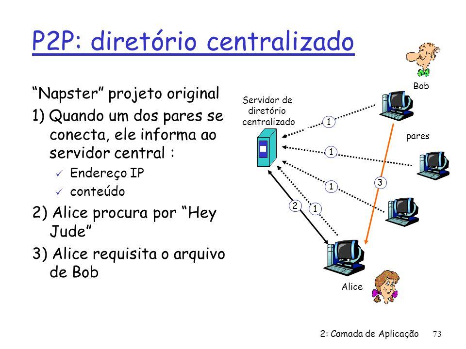 2: Camada de Aplicação73 P2P: diretório centralizado Napster projeto original 1) Quando um dos pares se conecta, ele informa ao servidor central : ü Endereço IP ü conteúdo 2) Alice procura por Hey Jude 3) Alice requisita o arquivo de Bob Servidor de diretório centralizado pares Alice Bob 1 1 1 1 2 3
