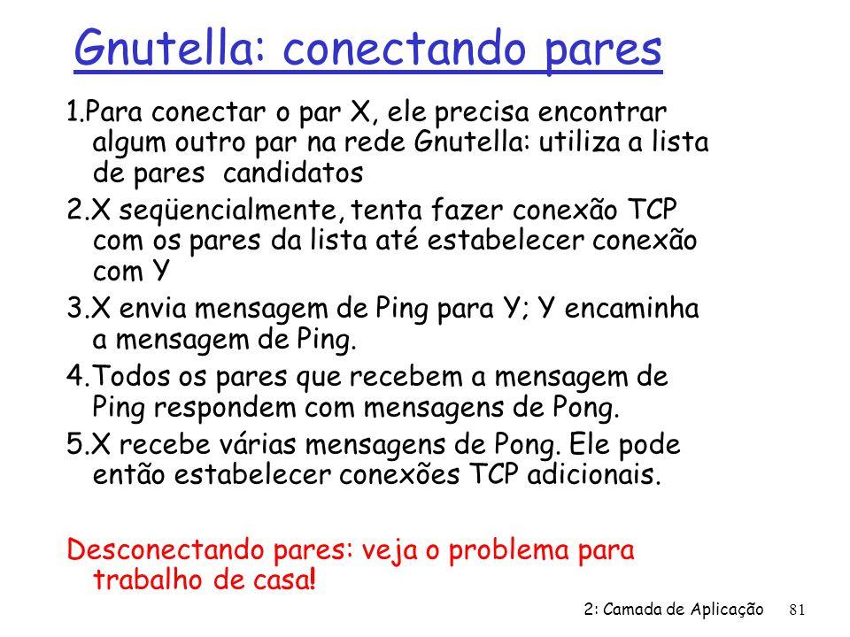 2: Camada de Aplicação81 1.Para conectar o par X, ele precisa encontrar algum outro par na rede Gnutella: utiliza a lista de pares candidatos 2.X seqüencialmente, tenta fazer conexão TCP com os pares da lista até estabelecer conexão com Y 3.X envia mensagem de Ping para Y; Y encaminha a mensagem de Ping.