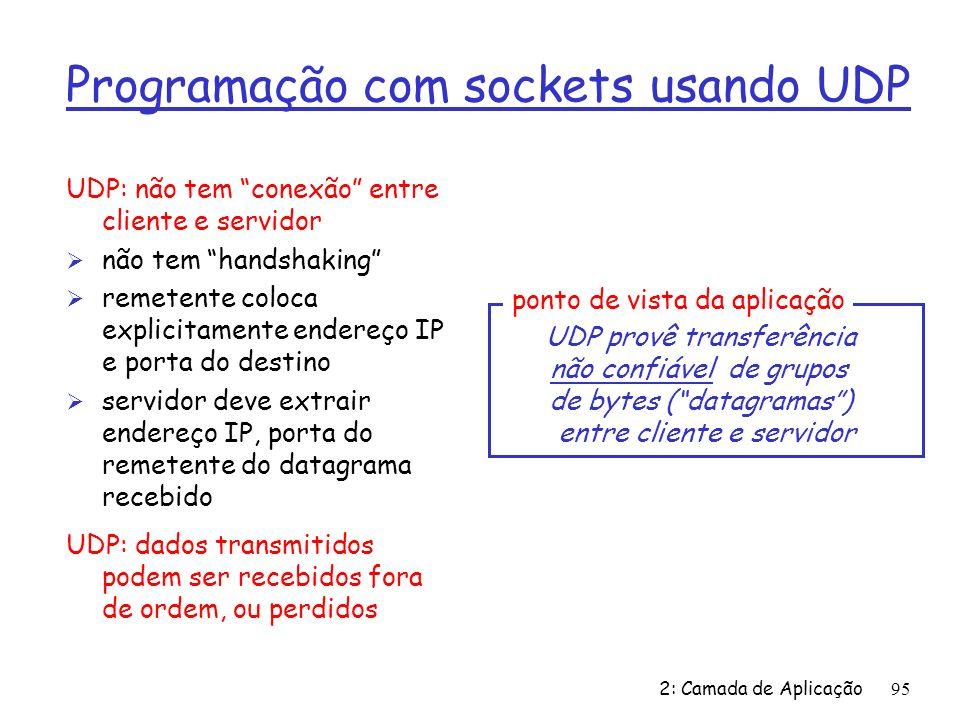 2: Camada de Aplicação95 Programação com sockets usando UDP UDP: não tem conexão entre cliente e servidor Ø não tem handshaking Ø remetente coloca explicitamente endereço IP e porta do destino Ø servidor deve extrair endereço IP, porta do remetente do datagrama recebido UDP: dados transmitidos podem ser recebidos fora de ordem, ou perdidos UDP provê transferência não confiável de grupos de bytes (datagramas) entre cliente e servidor ponto de vista da aplicação