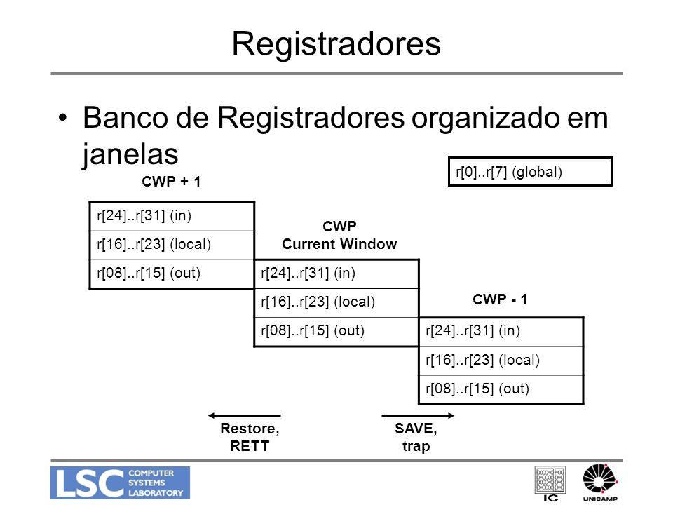 Registradores Banco de Registradores organizado em janelas r[24]..r[31] (in) r[16]..r[23] (local) r[08]..r[15] (out)r[24]..r[31] (in) r[16]..r[23] (lo