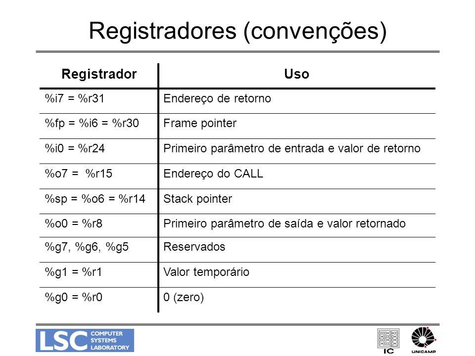 Registradores (convenções) RegistradorUso %i7 = %r31Endereço de retorno %fp = %i6 = %r30Frame pointer %i0 = %r24Primeiro parâmetro de entrada e valor