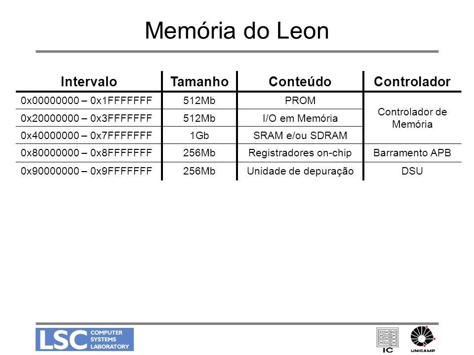 Memória do Leon IntervaloTamanhoConteúdoControlador 0x00000000 – 0x1FFFFFFF512MbPROM Controlador de Memória 0x20000000 – 0x3FFFFFFF512MbI/O em Memória
