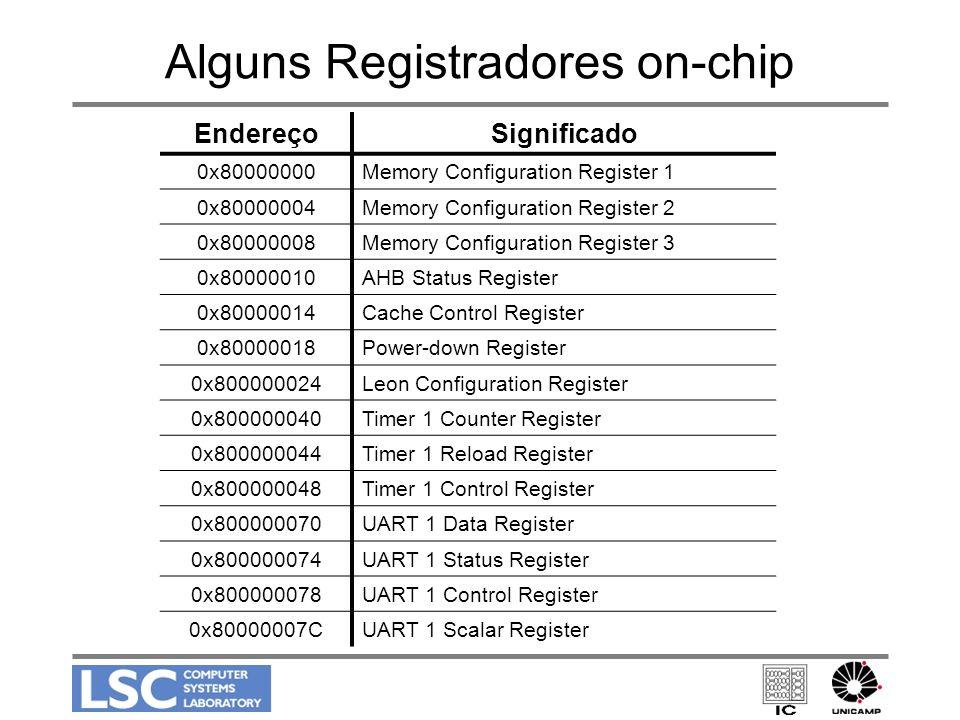 Alguns Registradores on-chip EndereçoSignificado 0x80000000Memory Configuration Register 1 0x80000004Memory Configuration Register 2 0x80000008Memory