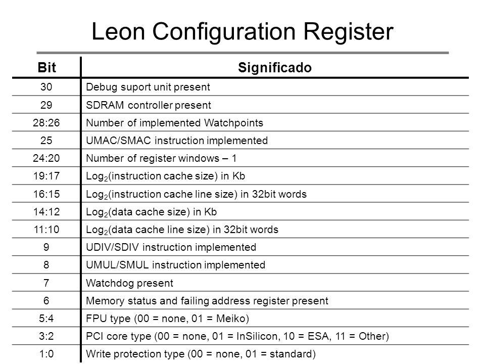 Leon Configuration Register BitSignificado 30Debug suport unit present 29SDRAM controller present 28:26Number of implemented Watchpoints 25UMAC/SMAC i