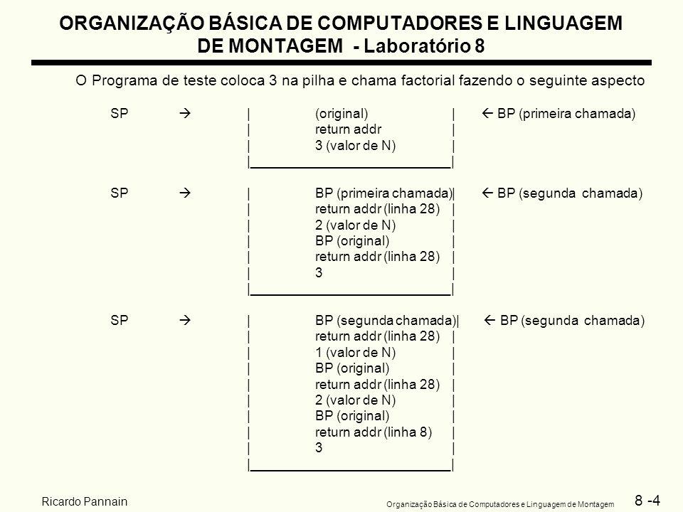 8 -4 Organização Básica de Computadores e Linguagem de Montagem Ricardo Pannain ORGANIZAÇÃO BÁSICA DE COMPUTADORES E LINGUAGEM DE MONTAGEM - Laboratór