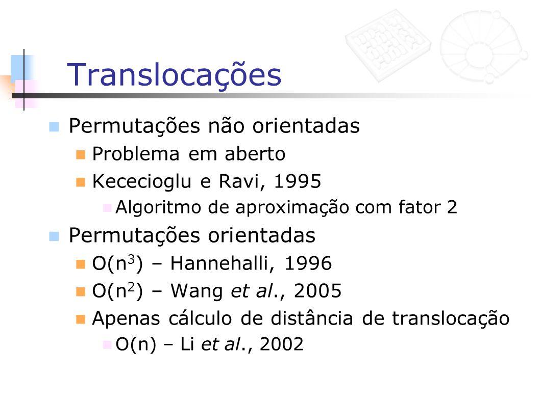 Translocações Permutações não orientadas Problema em aberto Kececioglu e Ravi, 1995 Algoritmo de aproximação com fator 2 Permutações orientadas O(n 3