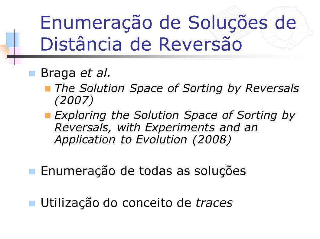 Enumeração de Soluções de Distância de Reversão Braga et al. The Solution Space of Sorting by Reversals (2007) Exploring the Solution Space of Sorting