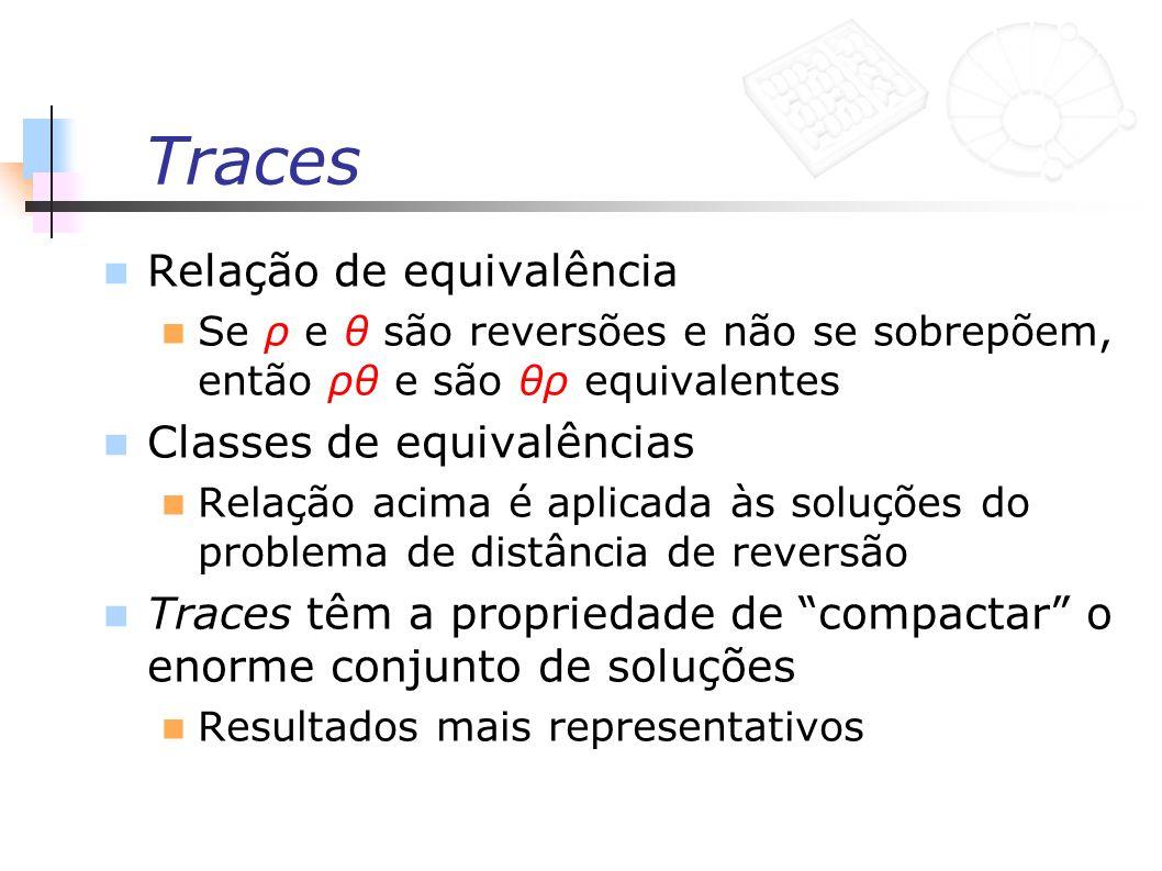 Traces Relação de equivalência Se ρ e θ são reversões e não se sobrepõem, então ρθ e são θρ equivalentes Classes de equivalências Relação acima é apli