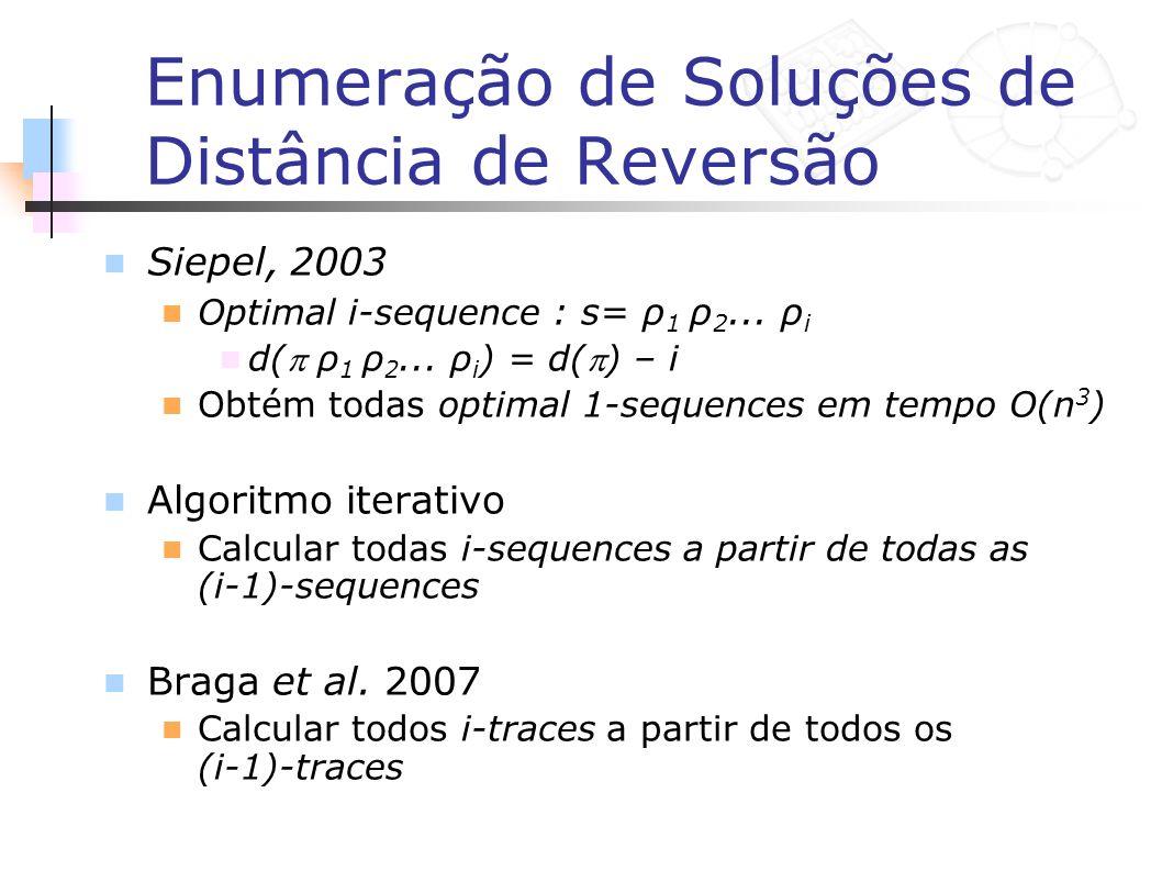 Enumeração de Soluções de Distância de Reversão Siepel, 2003 Optimal i-sequence : s= ρ 1 ρ 2... ρ i d( ρ 1 ρ 2... ρ i ) = d() – i Obtém todas optimal