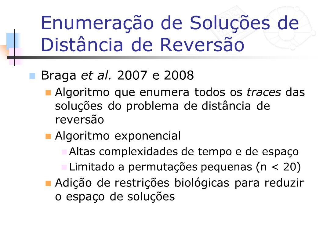 Enumeração de Soluções de Distância de Reversão Braga et al. 2007 e 2008 Algoritmo que enumera todos os traces das soluções do problema de distância d