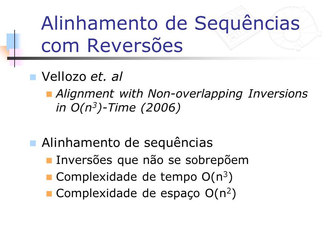 Alinhamento de Sequências com Reversões Vellozo et. al Alignment with Non-overlapping Inversions in O(n 3 )-Time (2006) Alinhamento de sequências Inve