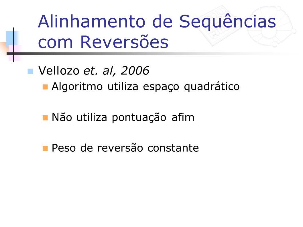 Alinhamento de Sequências com Reversões Vellozo et. al, 2006 Algoritmo utiliza espaço quadrático Não utiliza pontuação afim Peso de reversão constante