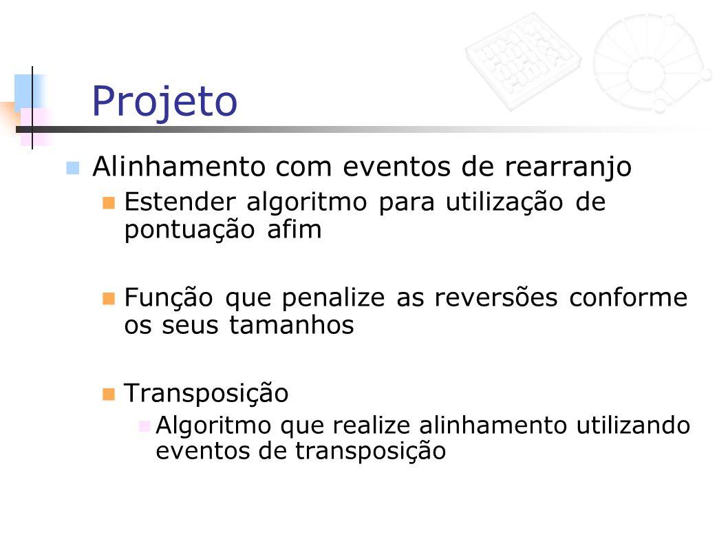 Projeto Alinhamento com eventos de rearranjo Estender algoritmo para utilização de pontuação afim Função que penalize as reversões conforme os seus ta