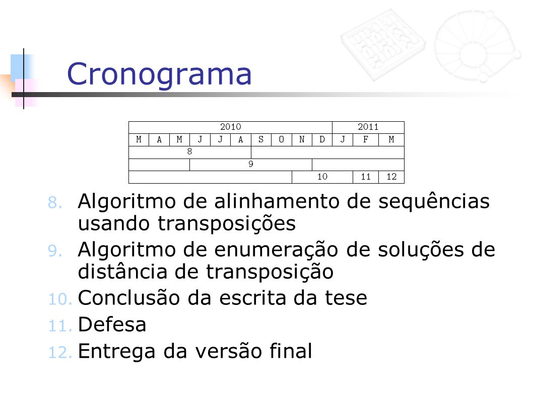 Cronograma 8. Algoritmo de alinhamento de sequências usando transposições 9. Algoritmo de enumeração de soluções de distância de transposição 10. Conc