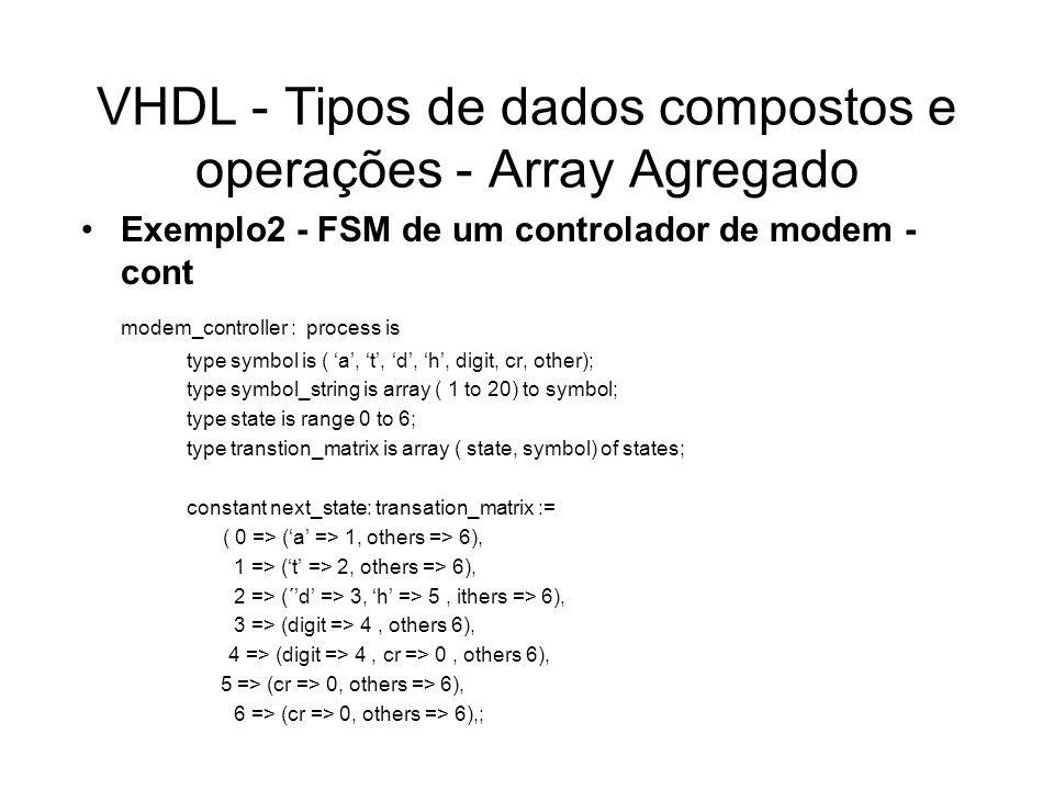 VHDL - Tipos de dados compostos e operações - Array Agregado Exemplo2 - FSM de um controlador de modem - cont modem_controller : process is type symbo