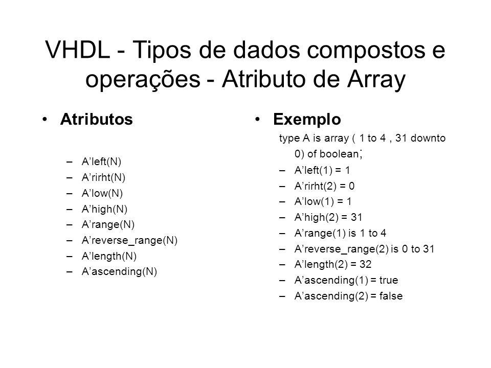VHDL - Tipos de dados compostos e operações - Atributo de Array Atributos –Aleft(N) –Arirht(N) –Alow(N) –Ahigh(N) –Arange(N) –Areverse_range(N) –Aleng